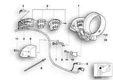 Goto diagram: BMW Classic Motorbike Model R 1200 C Indep. 00 (0405,0433)( ECE ), Category 62.11 DASHBOARD MOUNTING PARTS :: Diagram: 62_0314