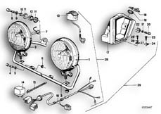 Goto diagram: BMW Classic Motorbike Model R65( USA ), Category 63.17 Additional headlight :: Diagram: 63_0331