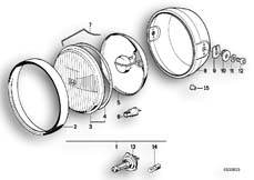 Goto diagram: BMW Classic Motorbike Model K 75 84 (0561)( ECE ), Category 63.05 Headlight :: Diagram: 63_0377