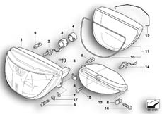 Goto diagram: BMW Classic Motorbike Model K 1200 GT 01 (0548,0558)( USA ), Category 63.12 Headlight :: Diagram: 63_0408