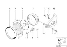 Goto diagram: BMW Classic Motorrad Modell R 1100 R 94 (0402,0407)( USA ), Category 63.12 Headlight bracket facelift :: Diagram: 63_0418
