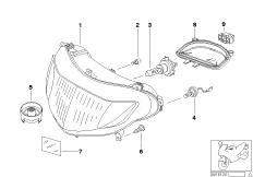 Goto diagram: BMW Classic Motorbike Model R 1150 RT 00 (0419,0499)( USA ), Category 63.12 Headlight :: Diagram: 63_0732