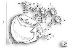 Goto diagram: BMW Classic Motorbike Model K 1200 S (0581,0591)( ECE ), Category 63.12 Headlight :: Diagram: 63_0881
