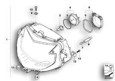 Goto diagram: BMW Classic Motorrad Modell K 1300 GT (0538,0539)( USA ), Category 63.12 Headlight :: Diagram: 63_0963