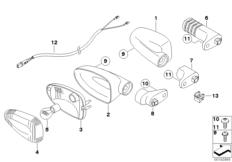 Goto diagram: BMW Classic Motorbike Model R 1200 R 06 (0378,0398)( USA ), Category 63.13 Direction indicators :: Diagram: 63_1142