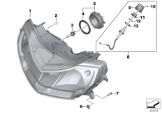 Goto diagram: BMW Classic Motorbike Model R 1200 RT 10 (0430,0440)( USA ), Category 63.12 Headlight :: Diagram: 63_1222