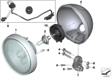Goto diagram: BMW Classic Motorbike Model R nineT (0A06, 0A16)( USA ), Category 63.12 Headlight :: Diagram: 63_1582