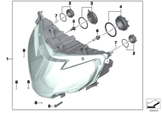 Goto diagram: BMW Classic Motorrad Modell R 1200 RT (0A03, 0A13)( USA ), Category 63.12 Headlight I :: Diagram: 63_1591