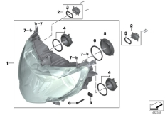 Goto diagram: BMW Classic Motorbike Model K 1600 GTL 17 (0F02, 0F12)( USA ), Category 63.12 Xenon headlight :: Diagram: 63_1649
