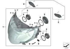 Goto diagram: BMW Classic Motorbike Model K 1600 GTL Excl. (0603, 0613)( USA ), Category 63.12 Active xenon headlight :: Diagram: 63_1652