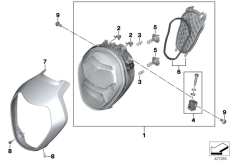 Goto diagram: BMW Classic Motorrad Modell R 1200 R (0A04, 0A14)( ECE ), Category 63.12 Headlight :: Diagram: 63_1654