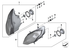 Goto diagram: BMW Classic Motorrad Modell R 1200 RS (0A05, 0A15)( USA ), Category 63.12 Headlight :: Diagram: 63_1674