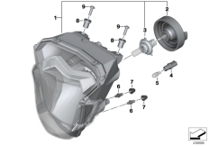 Goto diagram: BMW Classic Motorbike Model F 800 R 15 (0B34)( THA ), Category 63.12 Headlight :: Diagram: 63_1685