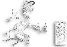 Goto diagram: BMW Classic Motorbike Model K 1200 RS 01 (0547,0557)( ECE ), Category 65.30 Mounting parts of radio telephone box :: Diagram: 65_1176