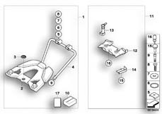 Goto diagram: BMW Classic Motorbike Model R 1200 GS 04 (0307,0317)( ECE ), Category 77.43 Set, Top Case carrier, variable :: Diagram: 77_0017