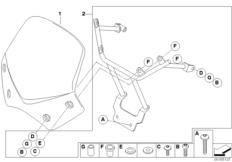 Goto diagram: BMW Classic Motorrad Modell G 650 Xcountry 07 (0164,0194)( USA ), Category 77.33 Windshield, sport, tinted :: Diagram: 77_0175