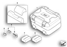 Goto diagram: BMW Classic Motorrad Modell F 700 GS 17 (0B06, 0B16)( USA ), Category 77.43 Vario topcase :: Diagram: 77_0184