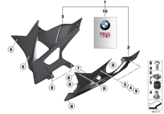 Goto diagram: BMW Classic Motorbike Model S 1000 RR 10 (0507,0517)( ECE ), Category 77.31 HP Carbon engine spoiler :: Diagram: 77_0344