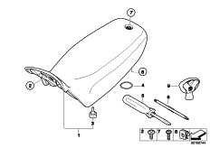 Goto diagram: BMW Classic Motorrad Modell HP2 Enduro (0369,0389)( ECE ), Category 77.34 Seat bench and mounting parts :: Diagram: 77_0385