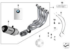 Goto diagram: BMW Classic Motorbike Model S 1000 RR 10 (0507,0517)( ECE ), Category 77.11 HP titanium exhaust system :: Diagram: 77_0418
