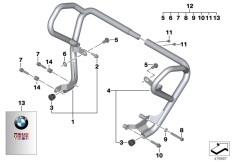 Goto diagram: BMW Classic Motorrad Modell F 700 GS (0B21)( BRA ), Category 77.14 ENGINE PROTECTION BAR :: Diagram: 77_0488