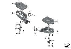 Goto diagram: BMW Classic Motorrad Modell F 700 GS 17 (0B06, 0B16)( USA ), Category 77.25 Footrests, wide :: Diagram: 77_0491