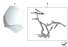 Goto diagram: BMW Classic Motorrad Modell G 650 Xcountry 08 (0141,0151)( ECE ), Category 77.33 Windshield, sport, clear :: Diagram: 77_0514