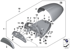 Goto diagram: BMW Classic Motorbike Model R nineT (0A06, 0A16)( USA ), Category 77.31 Tail unit cover, aluminium :: Diagram: 77_0561