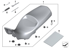 Goto diagram: BMW Classic Motorrad Modell F 800 GS Adve. (0B05, 0B15)( ECE ), Category 77.34 Seat bench, high :: Diagram: 77_0619