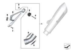 Goto diagram: BMW Classic Motorbike Model R nineT (0A06, 0A16)( USA ), Category 77.11 Add-on parts, Sport silencer, bottom :: Diagram: 77_0644