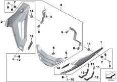 Goto diagram: BMW Classic Motorbike Model S 1000 R 17 (0D52, 0D62)( ECE ), Category 77.31 Engine spoiler :: Diagram: 77_0647