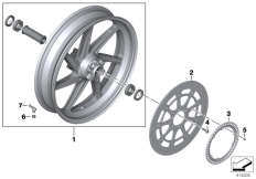 Goto diagram: BMW Classic Motorbike Model S 1000 R 17 (0D52, 0D62)( ECE ), Category 77.21 Forged wheel, front :: Diagram: 77_0689