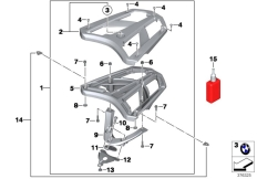 Goto diagram: BMW Classic Motorrad Modell C 650 GT 16 (0C05, 0C15)( ECE ), Category 77.44 Luggage grid :: Diagram: 77_0701