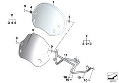Goto diagram: BMW Classic Motorrad Modell R nineT Pure (0J11, 0J13)( USA ), Category 77.33 Windscreen :: Diagram: 77_0849