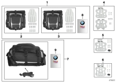 Goto diagram: BMW Classic Motorbike Model F 800 GS Adve. (0B05, 0B15)( USA ), Category 77.49 Other luggage system :: Diagram: 77_0871