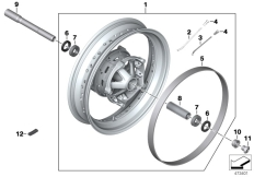 Goto diagram: BMW Classic Motorbike Model R nineT Racer (0J21, 0J23)( USA ), Category 77.21 Spoked wheel, front :: Diagram: 77_0950