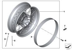 Goto diagram: BMW Classic Motorbike Model R nineT Racer (0J21, 0J23)( USA ), Category 77.21 Spoke wheel, rear :: Diagram: 77_0951