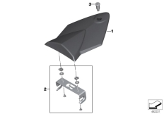 Goto diagram: BMW Classic Motorbike Model S 1000 RR 10 (0507,0517)( ECE ), Category 77.31 HP carbon pillion seat cover :: Diagram: 77_0958