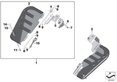 Goto diagram: BMW Classic Motorbike Model K 1600 Bagger (0F51, 0F53)( USA ), Category 77.31 Footboard front :: Diagram: 77_0979