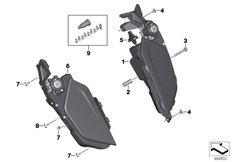 Goto diagram: BMW Classic Motorbike Model K 1600 Bagger (0F51, 0F53)( USA ), Category 77.31 Storage compartment :: Diagram: 77_1000